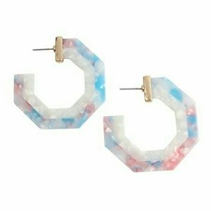 Riah Fashion Polygon Resin Hoop Earrings